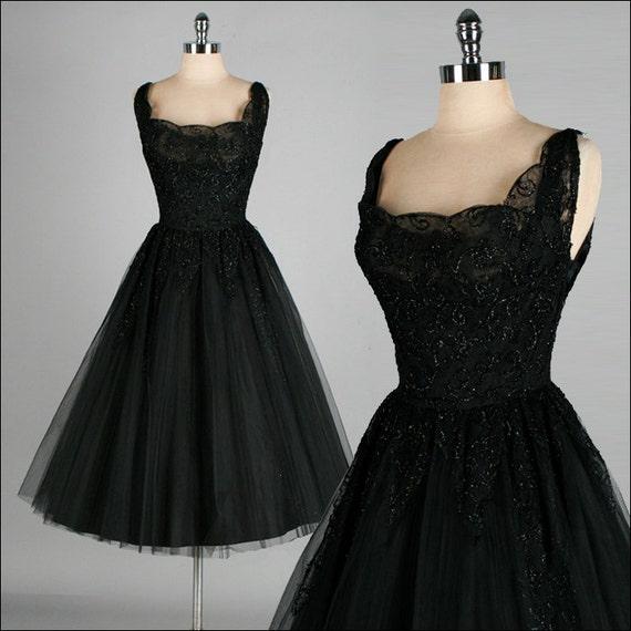 Vintage Wedding Dresses Etsy: Vintage 1950s Dress . Black Lace . Kay Selig . Tulle . Glitter