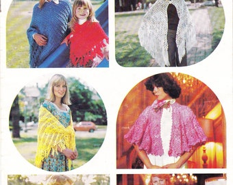 1970s Vintage Knitting & Crochet Patterns Poncho Shawls Stoles Capes Original Patterns NOT PDF