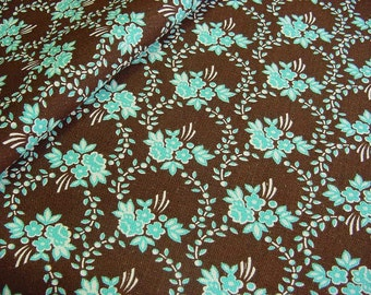 Vintage 60s 70s Decorator Floral Cotton Fabric -Robin Egg Blue Daisy Flowers & Roses on Dark Chocolate Brown Sailcloth -Last Piece