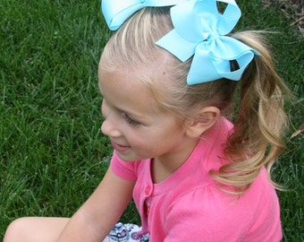 Pic Color- 2  Large Satin ribbon Loopy  Style  Boutique Bows  Hair Bows Toddlers Girls Pigtail Hairbows