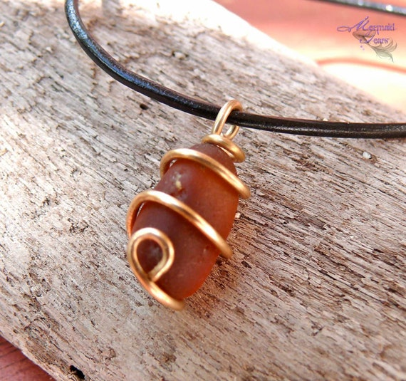 Sea Glass Necklace made in Hawaii - Leather Necklace for Men - Beach Sea Glass Jewelry from Hawaii - Wire Wrapped Seaglass Jewelry for Men