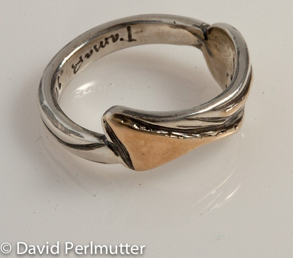 Ring Size 7 - Sterling Silver And Gold Handmade From Israel