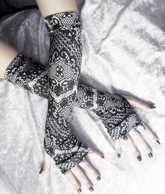 Saturnine Arm Warmers | Black Faux Lace Print | White | Steampunk Noir Gothic Yoga Romantic Lolita Goth Bohemian Damask Cycling Rustic Boho