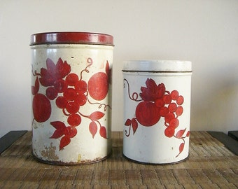 Pair of Shabby Chic Tin Canisters with Red Fruit Design