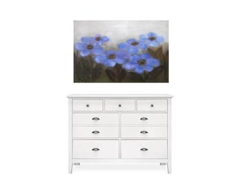 """Easter gift for daughter blue and brown oil 36""""X24"""" Blue Flowers Original oil on canvas"""