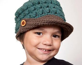 Kids Recycled Cotton Newsboy Hat in Jade and earth - Kids Popcorn Beanie