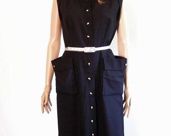 Vintage 1950s Dress Black Rhinestone Button Front Pencil Dress / Small to Medium