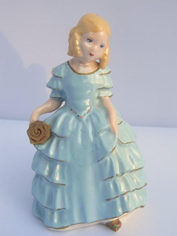 RESERVED for Dani -- Vintage Chalkware Antebellum Little Girl in Blue Figurine
