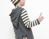 Girl's Hoodie Jacket with owl in gray and light yellow Children clothing