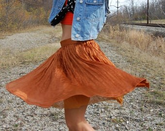 Vintage Copper Pleated Mini Skirt Fully Lined Small High Waist Grunge