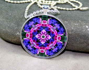 Mandala Pendant Necklace Boho Chic Wildflower Sacred Geometry Hippie Kaleidoscope New Age Mod Gypsy Unique Gift For Her Pink Providence