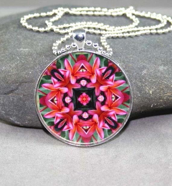 Pendant Necklace Pink Plumeria Frangipani Mandala Sacred Geometry Boho Chic Hippie Kaleidoscope Mod Unique Gift New Age Bohemian Mau Loa