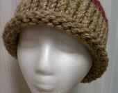 Women Knitted Beanie Hat Tan Pink Multi Colored