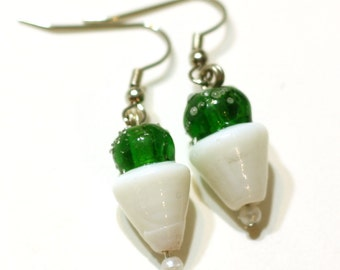 Green Snow Cone Charm Earrings for Summertime Fun, Shaved Ice Cone Lampwork Glass Beads, Handmade by Me, Fun Food Jewelry