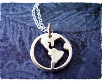 Silver World Map Necklace - Sterling Silver World Map Charm on a Delicate Sterling Silver Cable Chain or Charm Only