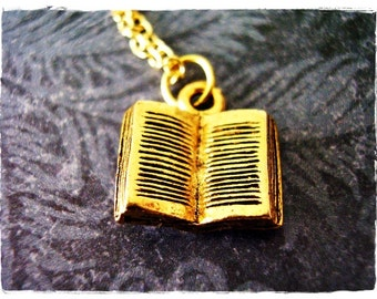 Gold Open Book Necklace - Antique Gold Pewter Open Book Charm on an Gold Plated Cable Chain or Charm Only