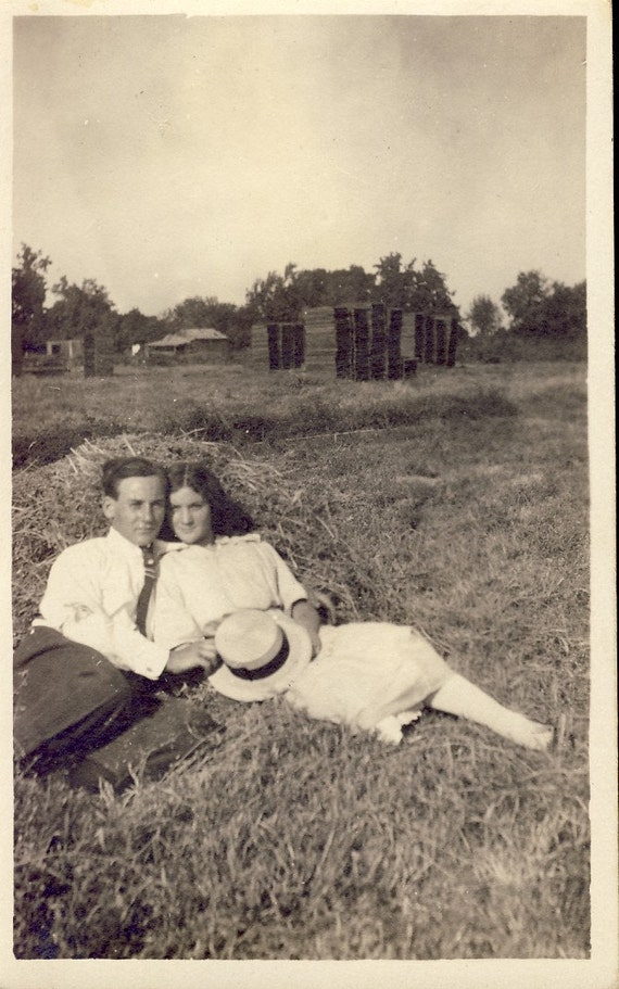 Young LOVERS Cuddling in a HAY STACK on Ranch Photo Postcard Circa 1915