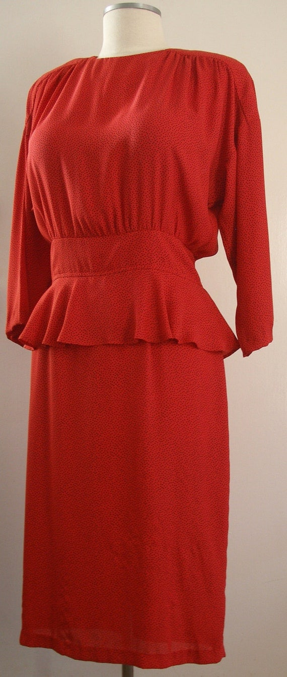 Vintage Red Peplum Wiggle Dress with Batwing Sleeves