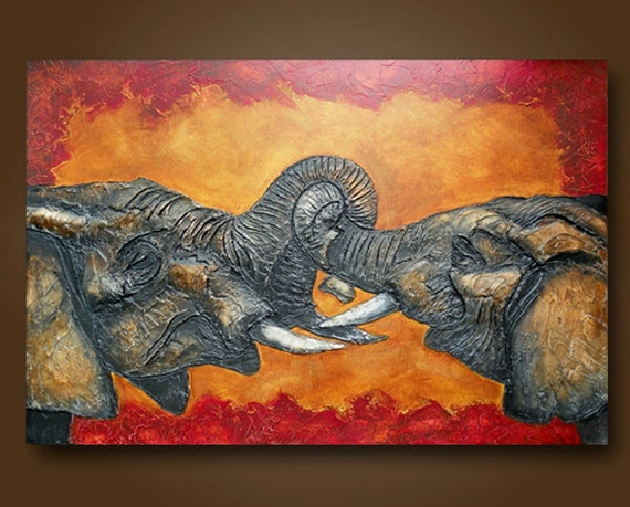 Painting of Elephant Sculptured Acrylic Painting of Baby Elephants  Heavy Texture 24 x 36 by Britt Hallowell
