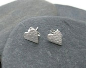 Sterling Silver Heart Stud Earrings - Reserved for Jay