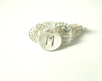 Initial Necklace Silver Charm Hand Stamped Personalized