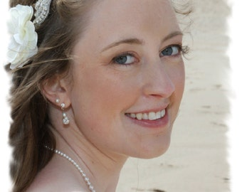 Rhinestone Bridal Headband, Jeweled Wedding Headpiece, Wedding Headband, Jeweled Headband, Ribbon Wedding Headband, Head Piece, No. 1126HB