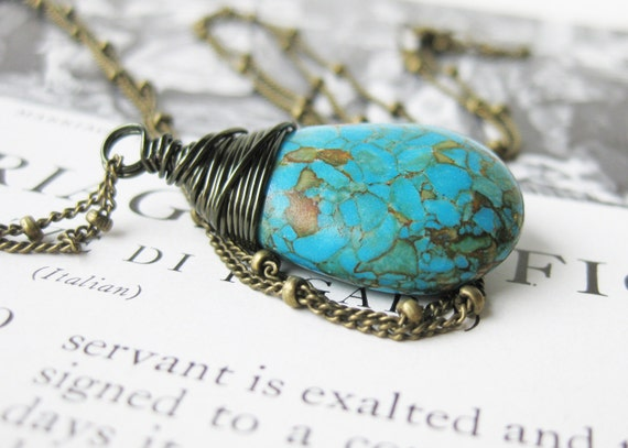 Bohemian Turquoise Necklace. Blue Necklace. Wire Wrapped Turquoise. Antiqued Brass Chain. Long and trendy. Turquoise Jewellery
