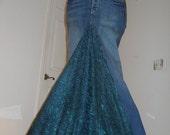 Belle Époque Émeraude jean skirt emerald lace bohemian mermaid goddess Renaissance Denim Couture Made to Order