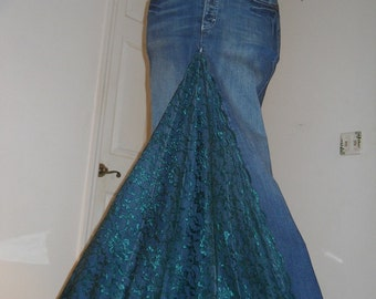 Belle Époque Émeraude jean skirt emerald lace bohemian mermaid goddess Renaissance Denim Couture Made to Order