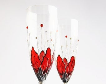 MADE to ORDER Personalized Champagne Flutes Hand Painted Toasting  Wedding Glasses,  Anniversary Toast, Set of 2