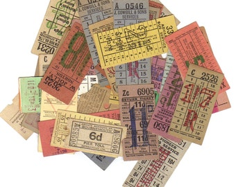 10 LONDON vintage tickets - Numbered from 1 to 10