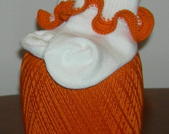 Infant Size Orange You Happy Crocheted Ruffle Trim Socks- 12 to 24 Months
