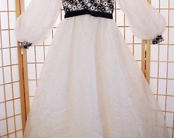 RARE Vintage 60s Emma Domb Snow White Gown 9 Hippie 4 layers Prom Wedding