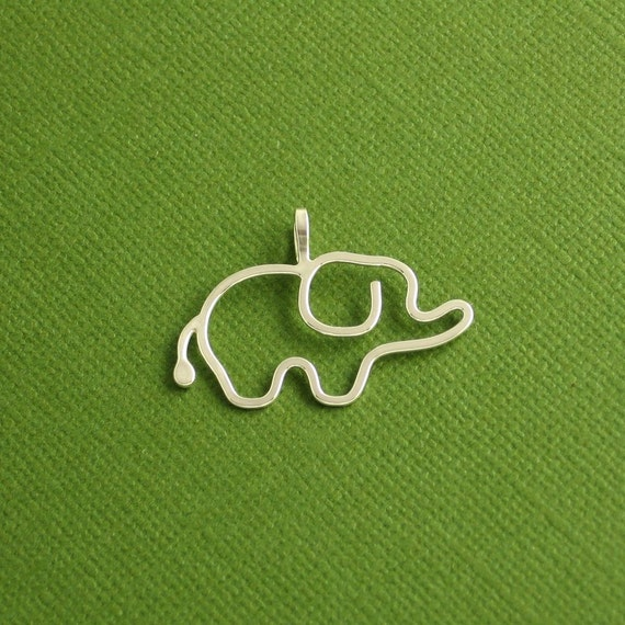 Elephant Pendant, Baby, Sterling Silver, Made To Order