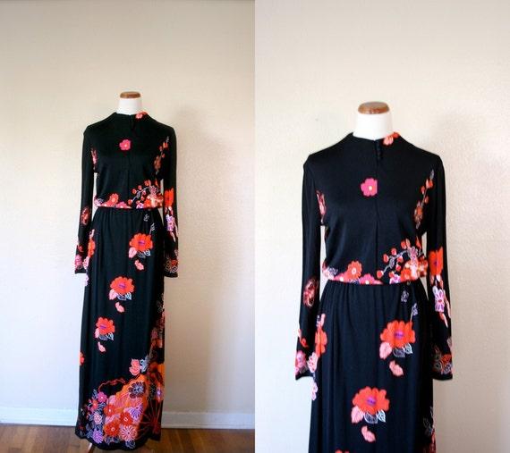 Vintage PAGANNE Dress / 60's Maxi dress / Extra large