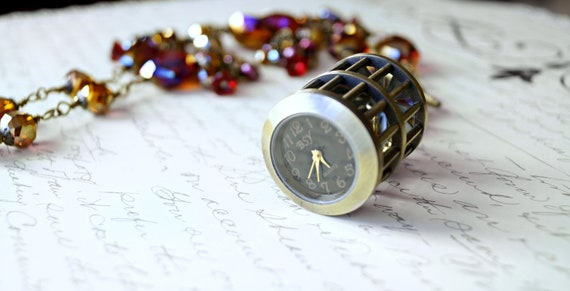 Bird Cage Pocket Watch Necklace