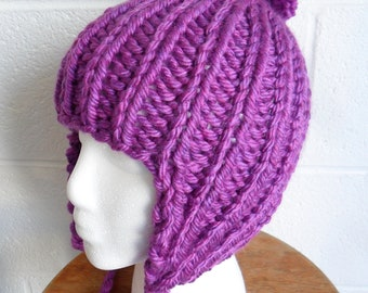 Pom-Pom Ear Flap Hat - Denver Rocky Mountain Purple