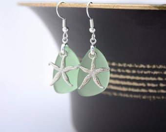 Green Sea Glass Earrings Star Fish, Starfish Earrings Seaglass Earrings Starfish Jewelry Sea Glass Jewelry Beach Jewelry Seaglass Jewelry 69