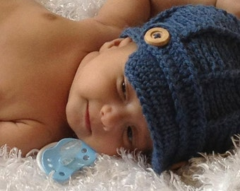 Baby Newsboy Hat - Baby Hats -Denim Newsboy Hat - Baby Boy Hat - by JoJosBootique