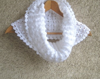 White knit scarf cowl, infinity lace tube scarf, crochet women neck warmer, fall winter trendy accessories, hand knit scarf, Christmas gift