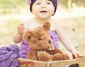 Crochet Cloche Hat with Bow for Girls - purple and pink - 12 Months to 4T - Photo Prop