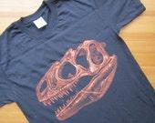 Allosaurus Skull Fossil Dinosaur TShirt - Bleach Painted - Custom Gift - Made to Order - Dino Skull - Natural History