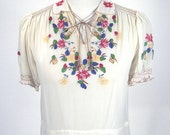 Vintage Cream Embroidered Silk 1930's Peasant Top