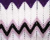 SUMMER SALE! Purple, White and Black Chevron Hand Crocheted Vintage Afghan