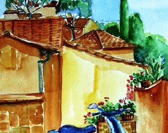Vespa  in Montecatini Tuscany - Original Watercolour   - SALE