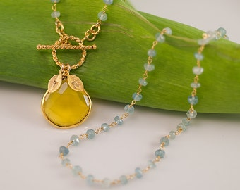 Lariat Necklace - Yellow Chalcedony Personalized Necklace - March Birthstone Necklace -  Wire wrapped Aquamarine Necklace -
