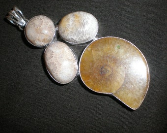 Fossil Coral & Ammonite Pendant -Beautiful Large Amulet New Age - Reiki Ancient Earth Spiral Energy