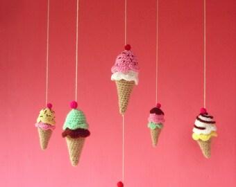 Crochet Tiny Pattern Ice Cream baby mobile - Amigurumi Toy PDF - Instant DOWNLOAD