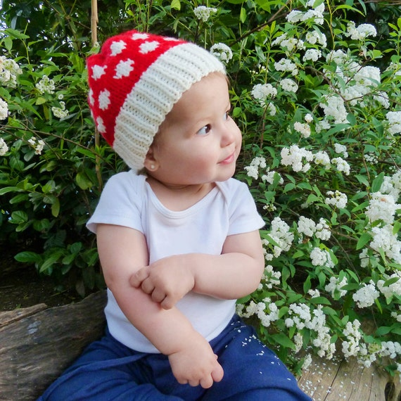 Hat knit Pattern Toadstool - baby / Adult  7 sizes - Knit beanie polka dot children hat -  mushroom baby photo prop - Instant Download