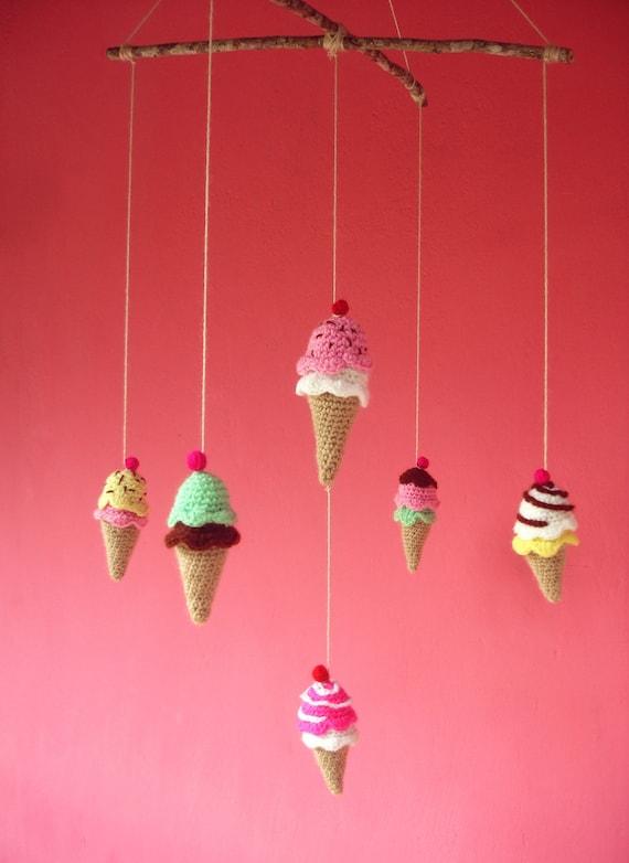 Amigurumi Baby Mobile Pattern : Items similar to Crochet Tiny Pattern Ice Cream baby ...